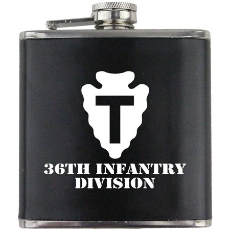 Army 36th Infantry Division Subdued Stainless Steel Leather Wrapped 6oz. Flask