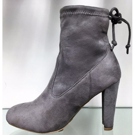 Amaya 8 Ankle High Tie Lace Up Pull On Block Chunky Heel Bootie Boot Shoe Gray