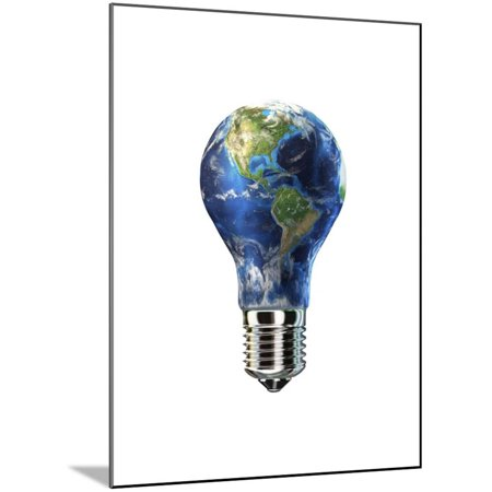 Light Bulb with Planet Earth Inside Glass, Americas View Wood Mounted Print Wall Art