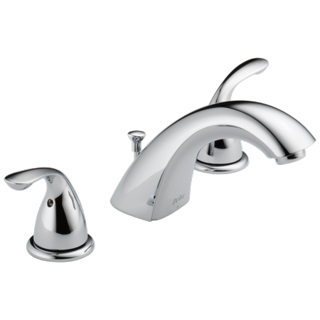 Widespread 2 Handle - Delta Classic Two Handle Widespread Bathroom Faucet with Metal Drain Assembly in Chrome 3530LF-MPU