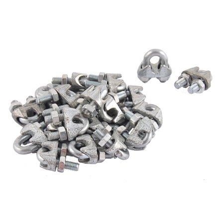 "Unique Bargains M5 5mm 3/16"" Metal Wire Rope Saddle Cable Clamps Clips 20PCS Silver Tone"