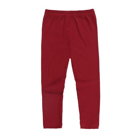 Toddler Baby Girls Solid Pattern Pants Leggings Stretchy Trousers Bottoms ()