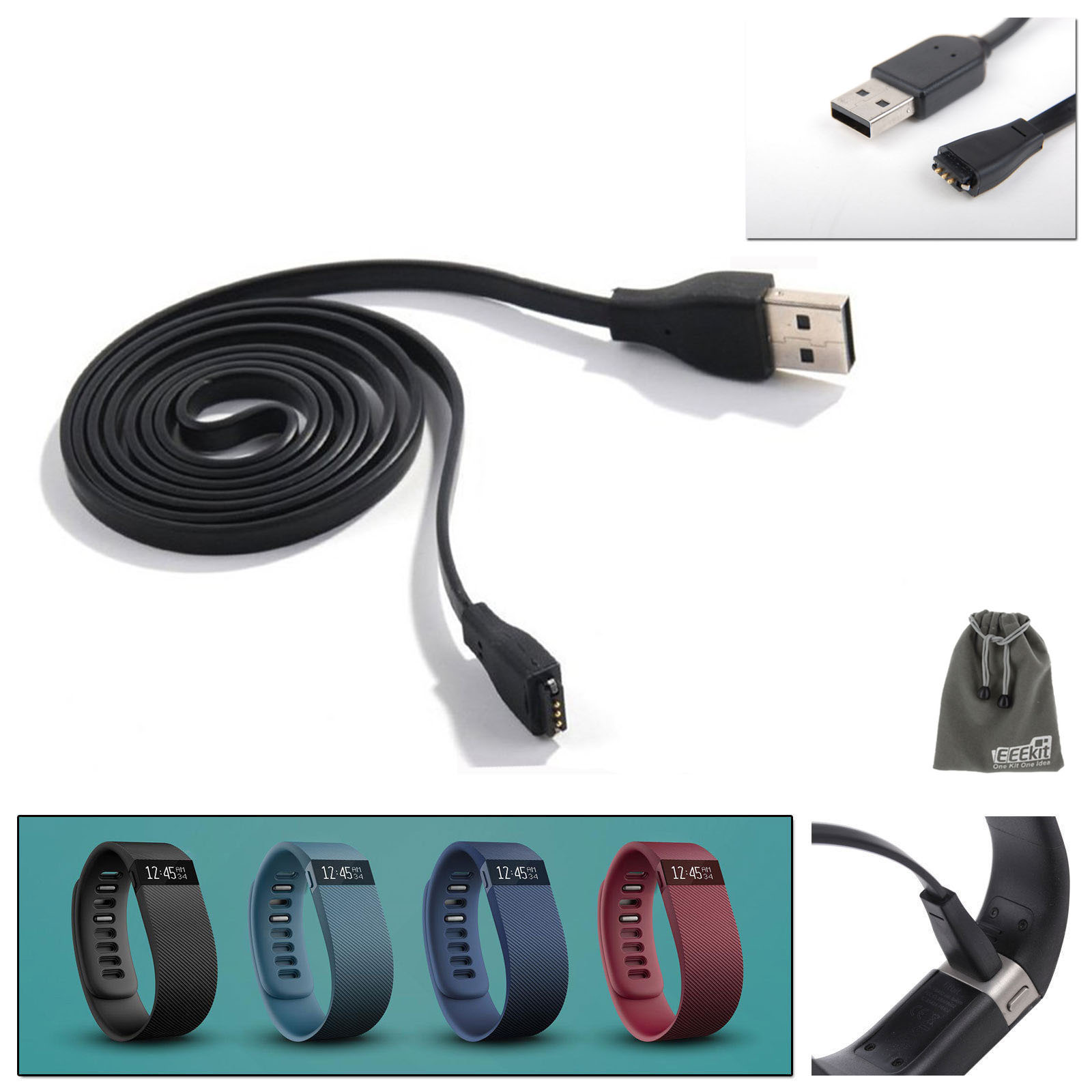 EEEKit for Fitbit Charge/Force Wristband Fitness /Activity Tracker,Replacement Charger Cable+Wall Charger Adapter