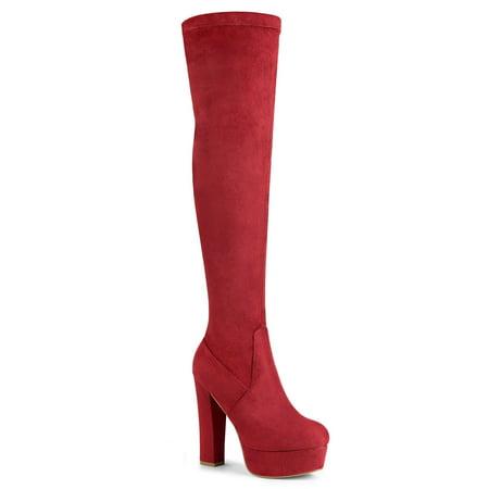 Women's Platform Block Heel over Knee High Boots Red (Size 9) Heel Knee High Stretch Boots