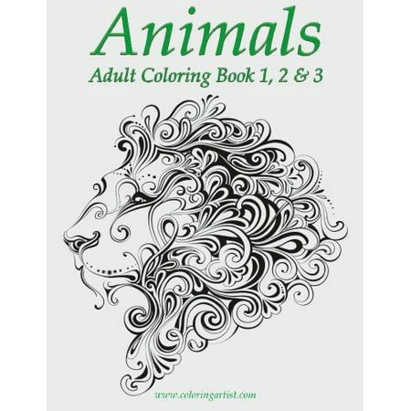 Animals adult coloring book 1 2 3 Coloring book walmart