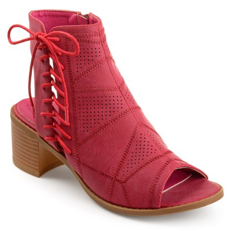 Women's Faux Leather Side Lace-up Perforated Cut-out Heel Booties