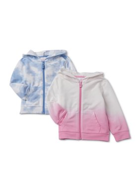 Wonder Nation Baby & Toddler Girl French Terry Zip-up Hoodie Sweatshirts, 2-pack