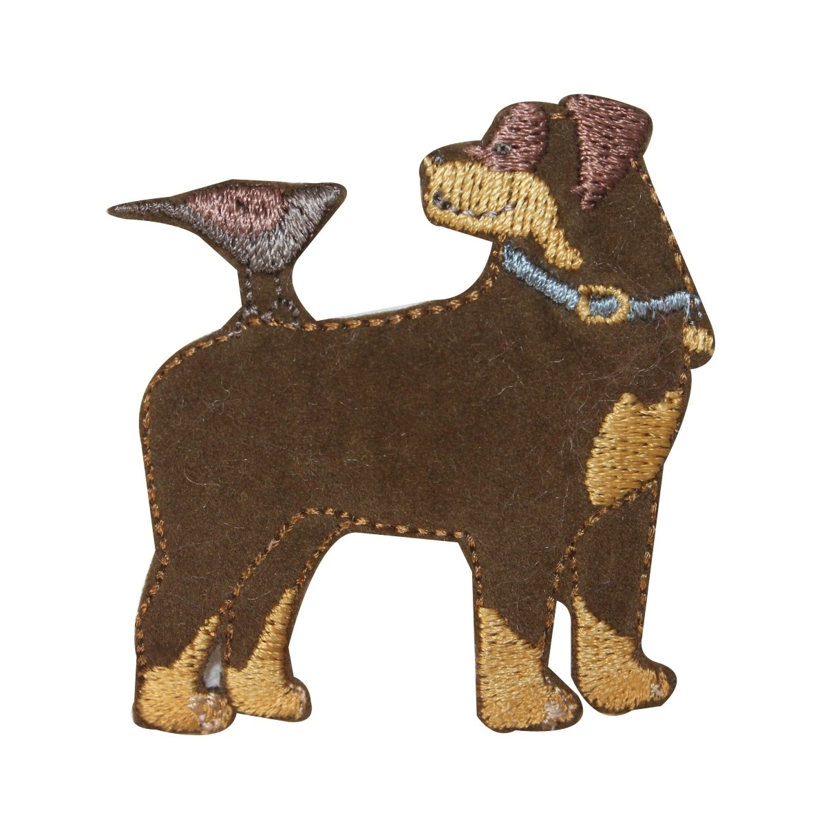ID 2833 Fuzzy Dog With Bird Patch Dog Puppy Pet Embroidered Iron On Applique