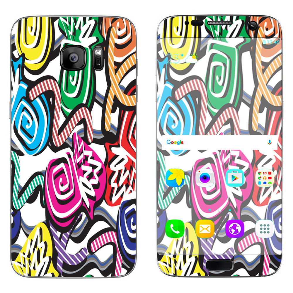 Skin Decal For Samsung Galaxy S7 Edge / Squiggles Swirls Pop Art