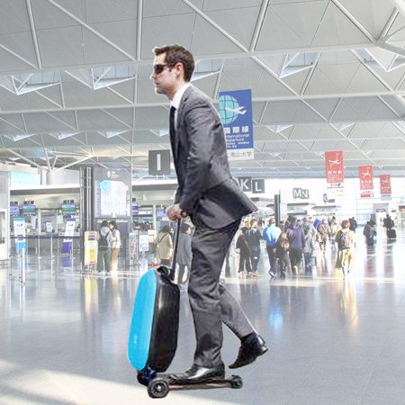 21'' PC Suitcase Scooter Carry Trolley Luggage Skateboard Travel Bag Rear -