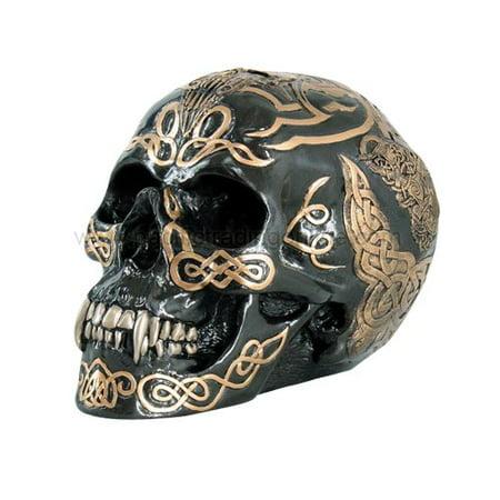 - 7 Inch Black and Gold Color Celtic Pattern Skull Statue Figurine