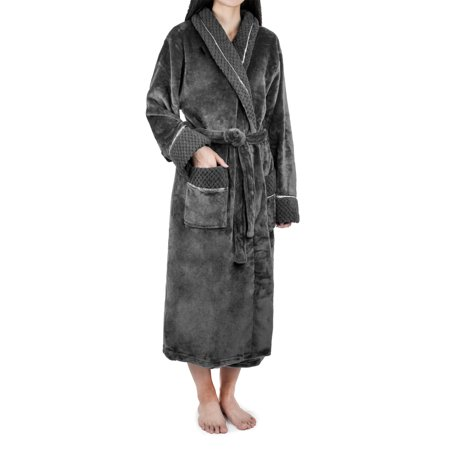 PAVILIA - Deluxe Women Fleece Robe with Satin Trim  e249061cbc