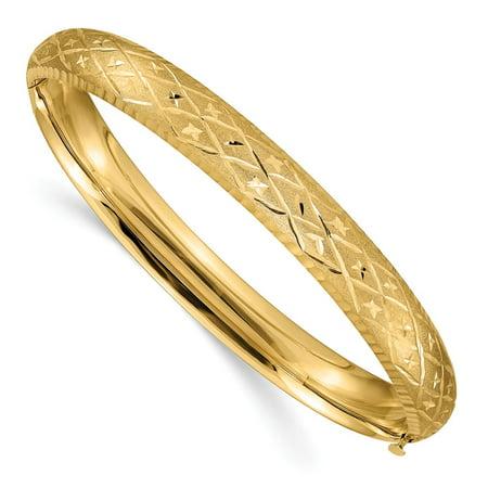 Solid 14k Yellow Gold 5/16 Diamond-Cut Fancy Hinged Bangle Bracelet 7