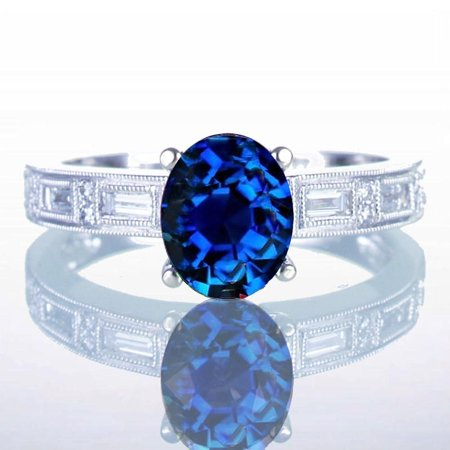 1.50 Carat Oval Cut Sapphire and Baguette Diamond Milgrain Engagement Ring Baguette Cut Diamond Engagement Ring
