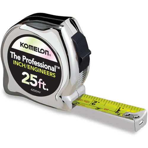 Komelon 25' Professional Chrome Inch/Engineers Tape Measure