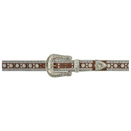 Angel Ranch Western Belt Womens Leather Gator Crystals Brown - Brown Womens Belt
