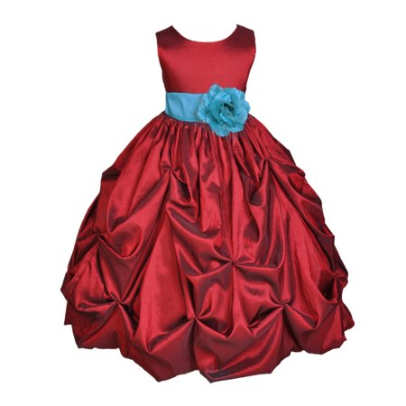 Girls Pink Corduroy Jumper - Apple Red Satin Taffeta Pick-up Bubble Formal Flower Girl Dress 301S