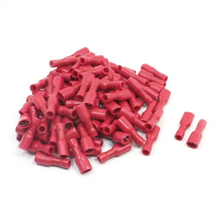 100Pcs FDFD1-187 Red Fully Insulate Female Spade Crimp Wire Terminal 22-16AWG