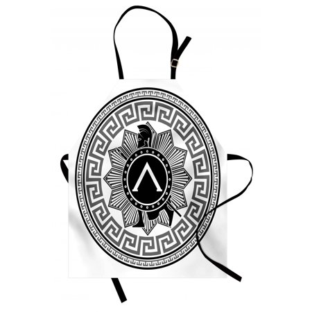 Toga Party Apron Label with Greek Pattern Spartan Figures Silhouette Retro Icon Design, Unisex Kitchen Bib Apron with Adjustable Neck for Cooking Baking Gardening, Grey Black White, by Ambesonne (Toga Party Ideas)