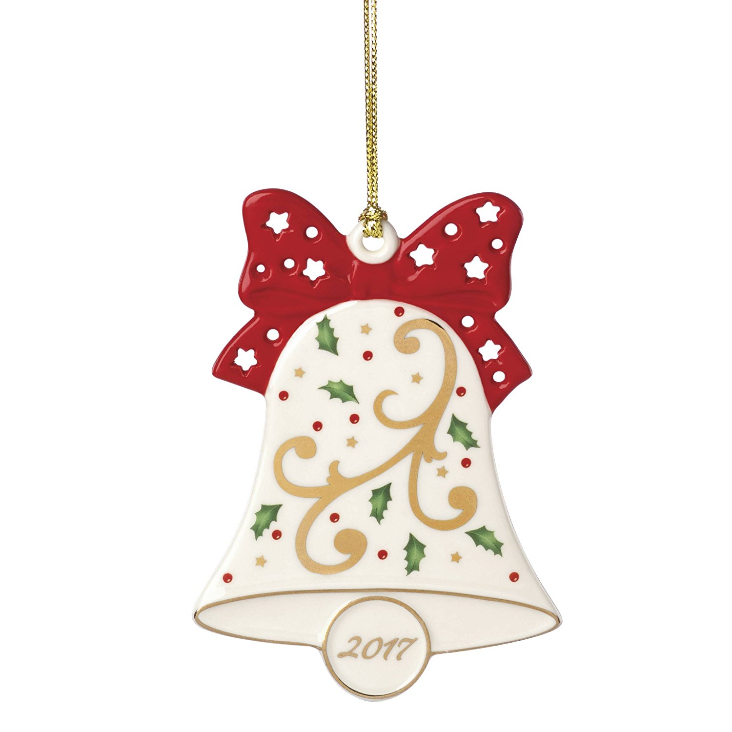 2017 Lenox Joyous Tidings Holly and Berry Covered Bell Christmas Ornament 869901