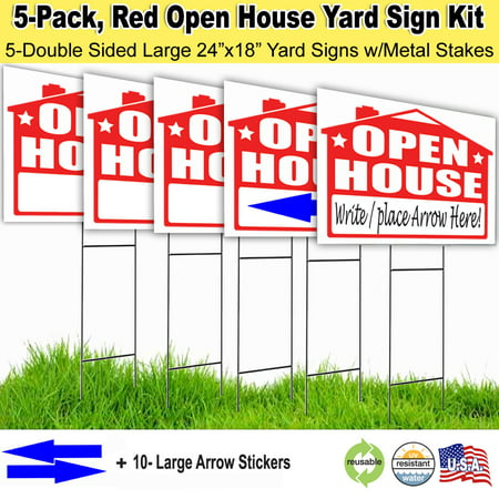 5 Pack Open House Lawn Signs with Stakes, and Arrow Stickers](Sign For Open)