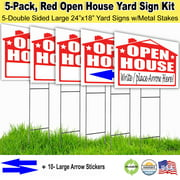 5 Pack Open House Lawn Signs with Stakes, and Arrow Stickers