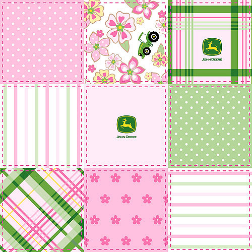 Springs Creative John Deere Floral Madras Patch Fabric by the Yard