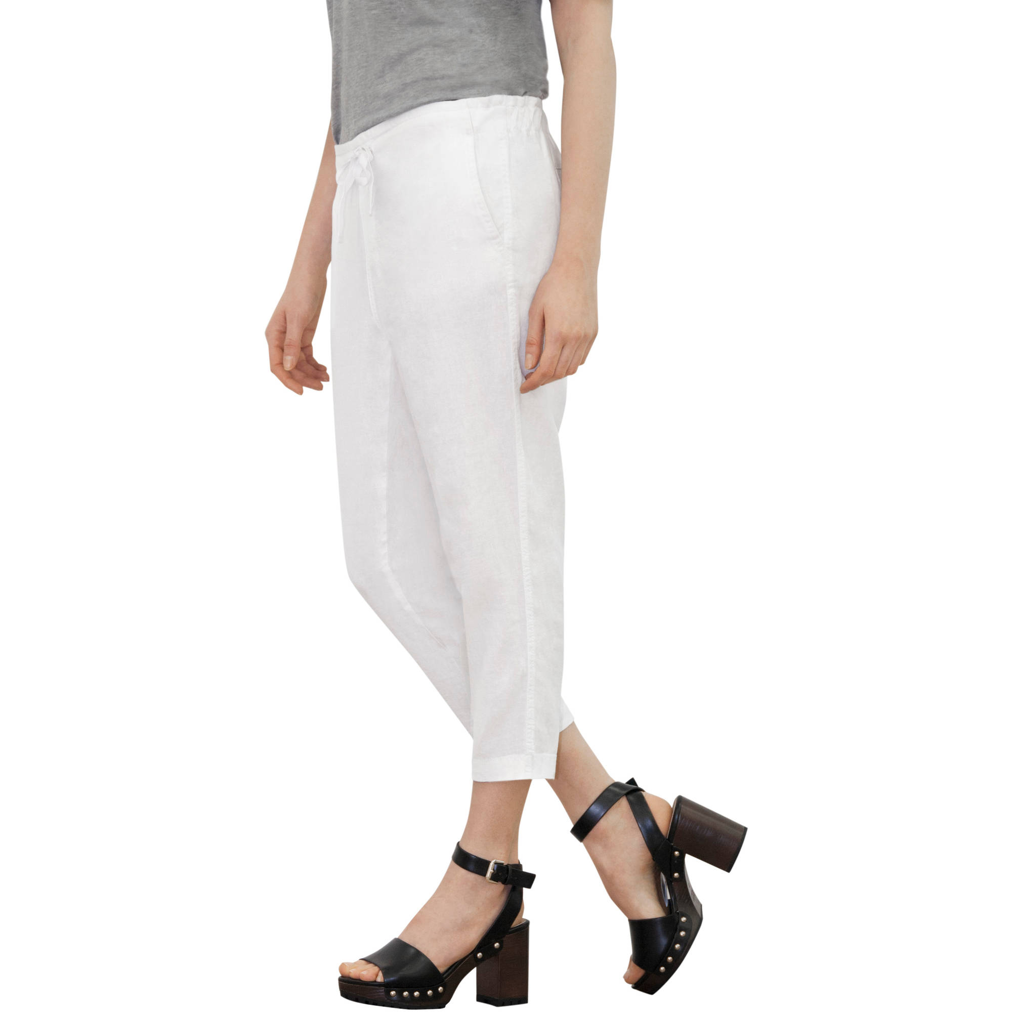 Faded Glory Women's Drawstring Linen Capri Pants - Walmart.com