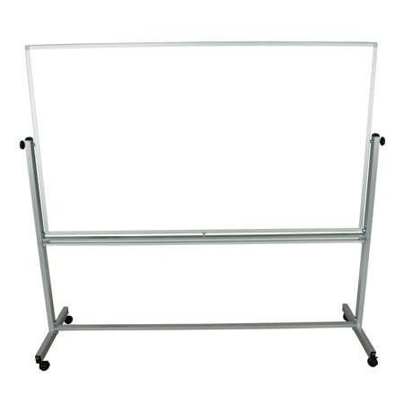 Euro Reversible Board - Office Accents  Mobile Silver Frame 72 x 40-inch Reversible Magnetic Whiteboard
