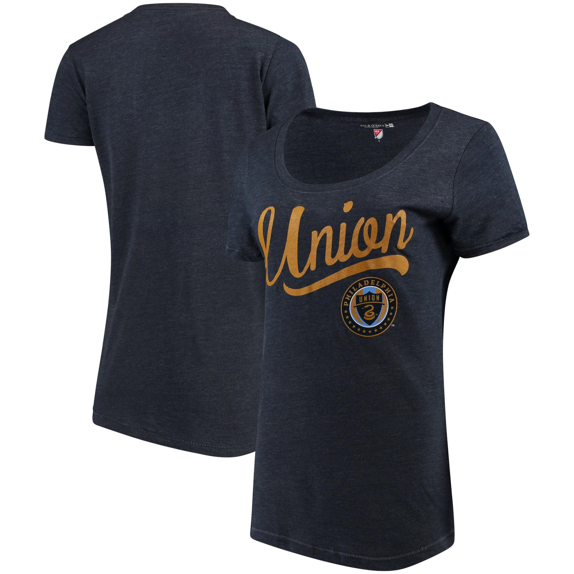 Philadelphia Union 5th & Ocean by New Era Women's Scoop Neck Tri-Blend T-Shirt - Navy