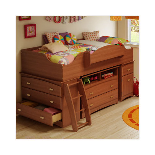 Bundle-85 South Shore Imagine Storage Loft Bed with Ladder in Cherry (4 Pieces)