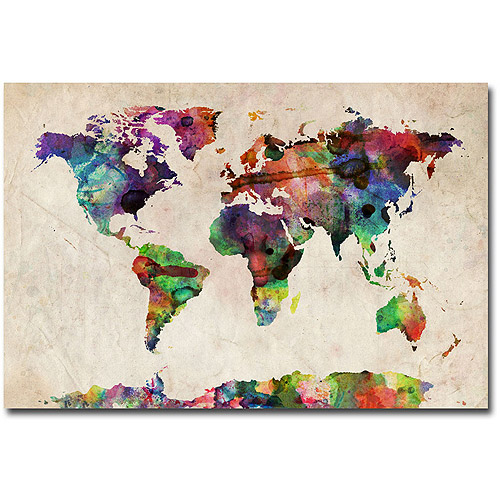 "Trademark Art ""Urban Watercolor World Map"" Canvas Art by Michael Tompsett by TRADEMARK GAMES INC"