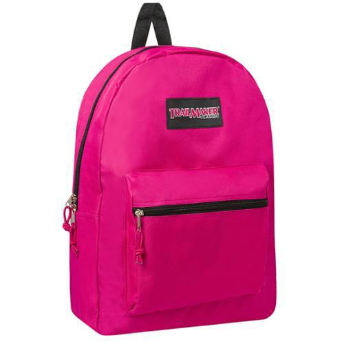 TrailMaker Girls Fuchsia Classic Padded Straps Zipper School Backpack