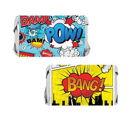 Comic Book Superhero Birthday Party Mini Candy Bar Wrapper Stickers, 54 Count - Comic Book Superhero