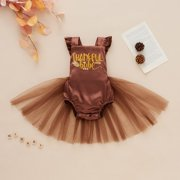 0-18M Thanksgiving Clothes Baby Girls Thankful Baby Silk Satin Lace Tulle Romper Skirt