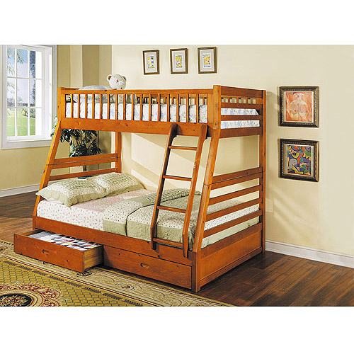 jason twin over full wood bunk bed honey oak