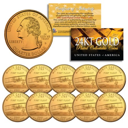2001 North Carolina State Quarters US Mint BU Coins 24K GOLD PLATED (LOT of 10) State Quarters Us Coins