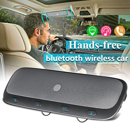 Wireless bluetooth Multipoint Handsfree Speakerphone Kit Car Sun Visor MP3 Player Speakers Hands-free Phone Audio Music Receiver Automatic Answering+ Car + USB