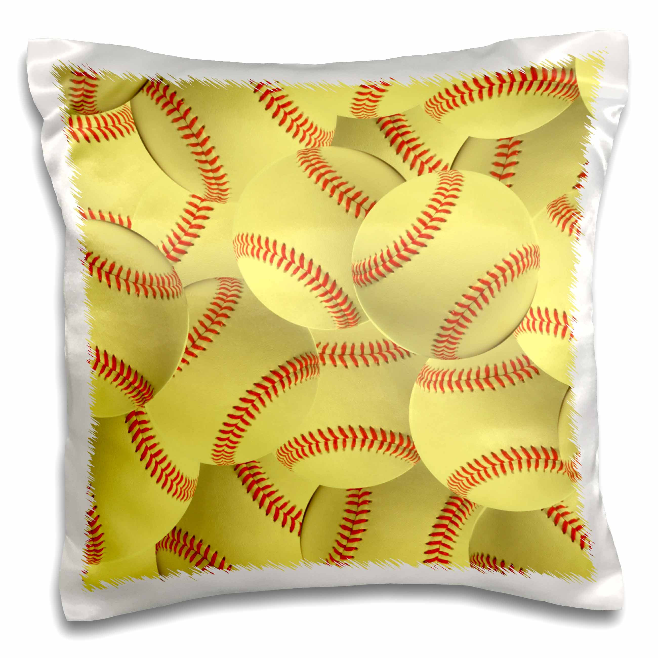 3dRose Softball pattern - yellow red stitched balls - Soft ball sport - sporty - sporting game - team jock, Pillow Case, 16 by 16-inch