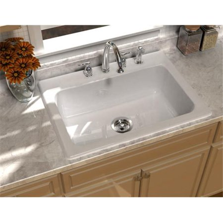 SONG S-8410-3-61 Self-Rimming Kitchen Sink in Biscuit with 3 Faucet Holes