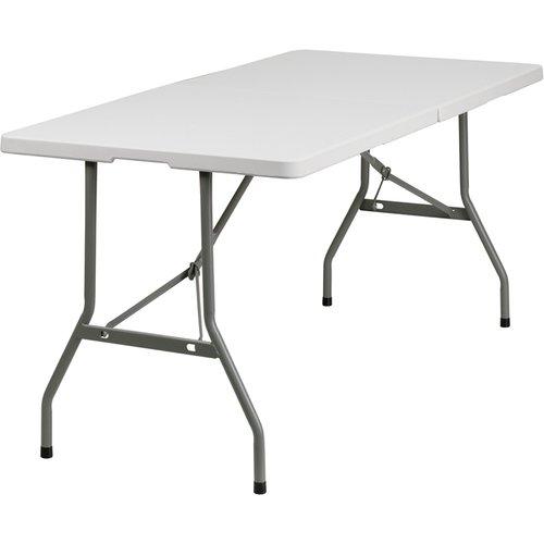 Flash Furniture 30''W x 60''L Granite White Plastic Folding Table by Flash Furniture
