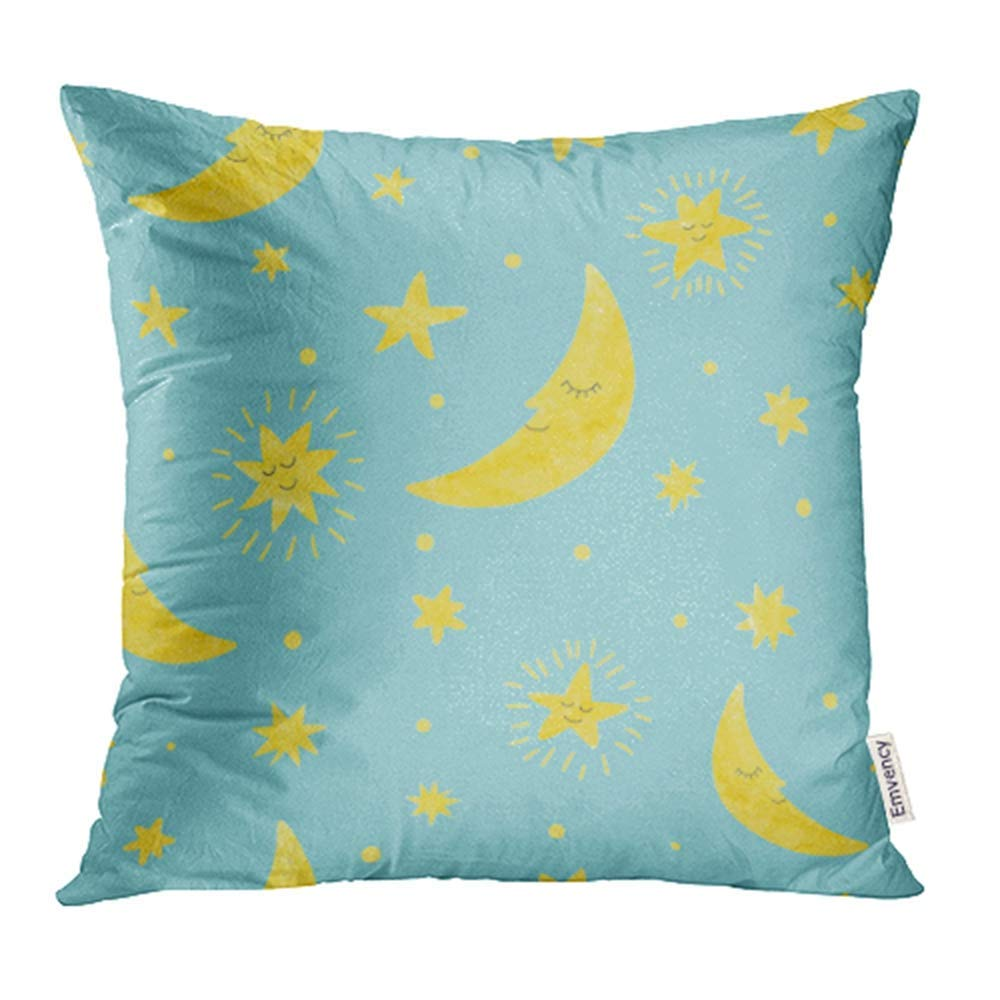 USART Yellow Kids Moon and Stars Pattern Night Blue Baby Cute Sky Cartoon Children Pillow Case Pillow Cover 16x16 inch Throw Pillow Covers
