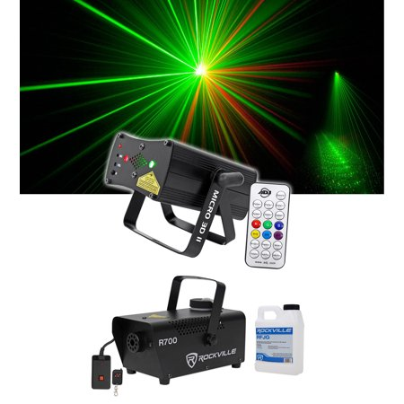 - American DJ Micro 3D II Mini Red+Green Laser Club Stage FX Light+Fogger+Fluid