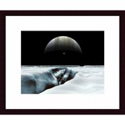 Printfinders A Crescent Jupiter and Volcanic Satellite Hover Over The Horizon of The Icy Moon of Europa Photographic Print