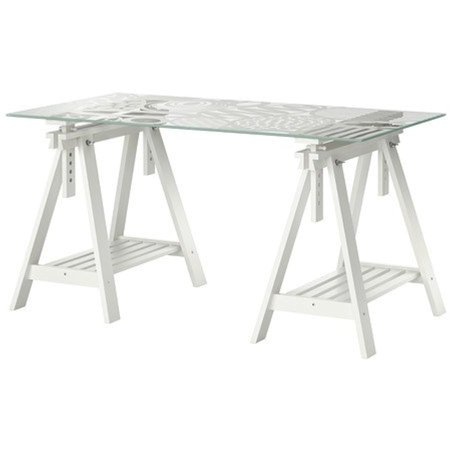 Ikea Table, egg pattern glass top, white trestle 22382.282.64 ()