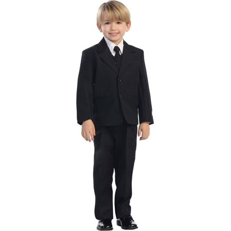 Boys Black Single Breasted Jacket Vest Shirt Tie Pants 5 Pc Suit