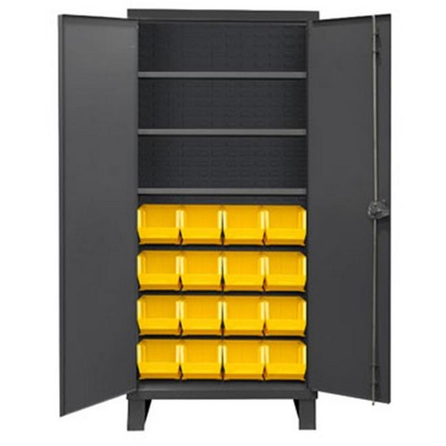 14 Gauge Recessed Door Style Lockable Cabinet with 16 Yellow Hook on Bins & 3 Adjustable Shelves, Gray - 36 in.