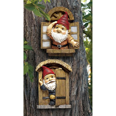 Design Toscano The Knothole Gnomes Garden Welcome Tree Sculpture: Window & Door Gnomes](Garden Gnome Outfit)