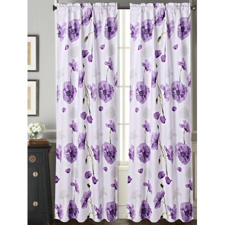 "DR2 PURPLE 2pc Floral Garden Blackout Room Darkening Window Curtain Treatment Set, Two (2) Printed Rod Pocket Panels 37""W X 84""L Each"