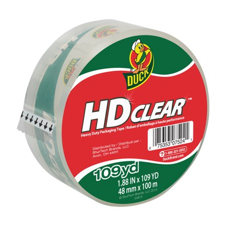 Duck HD Clear Packing Tape, 1.88 in. x 109 yd., Clear, 1-Count - Duck Pack